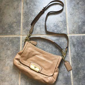 Coach Beige Leather Crossbody Handbag